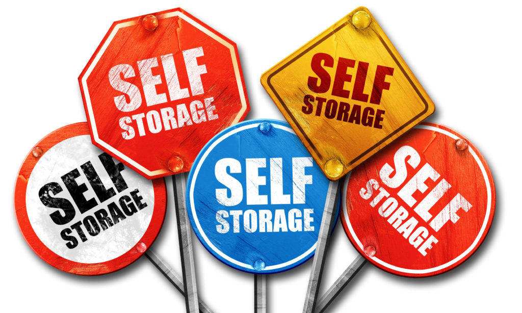 self storage, 3D rendering, street signs